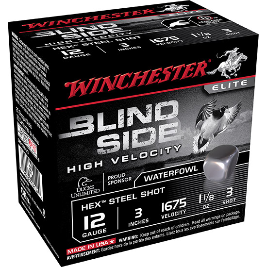 Winchester Ammo SBS123HV3 Blindside 12 Gauge 3 1-1|8 oz 3 Shot 25 Bx| 10 Cs in.
