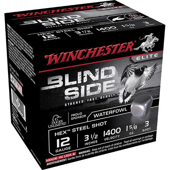 Winchester Ammo SBS12L3 Blindside 12 Gauge 3.5 1-5|8 oz 3 Shot 25 Bx|10 Cs in.