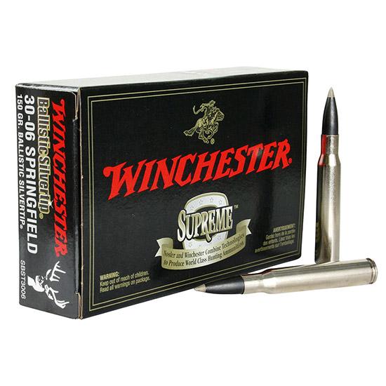 Winchester Ammo SBST3006 Supreme 30-06 Springfield 150 GR Ballistic Silvertip 20 Bx| 10 Cs
