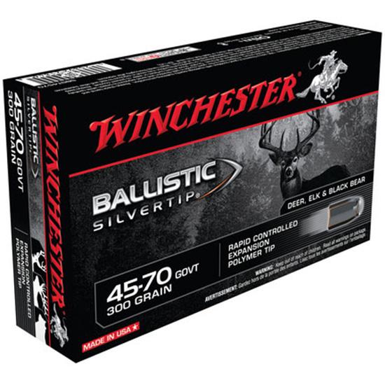 Winchester Ammo SBST4570 Supreme 45-70 Government 300 GR Ballistic Silvertip 20 Bx| 10 Cs