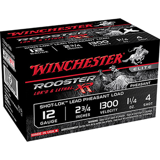 Winchester Ammo SRXR1234 Rooster XR Shot-Lok 12 Gauge 3 1-1|2 oz 4 Shot 15 Bx| 10 Cs in.