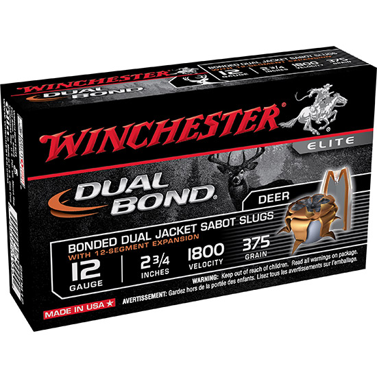 Winchester Ammo SSDB12 Elite Dual Bond 12 Ga 2.75 375 GR Sabot Slug Shot 5 Bx| 20 Cs in.