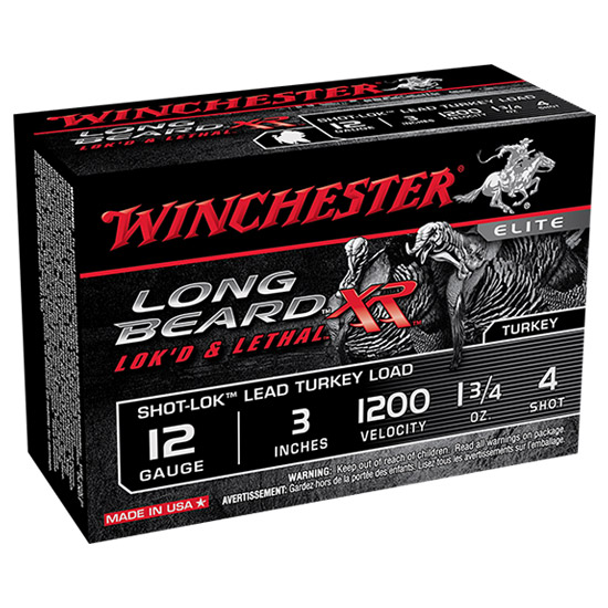 Winchester Ammo STLB1234 Long Beard XR Shot-Lok Turkey 12 Gauge 3 1-3|4 oz 4 Shot 10 Bx| 10 Cs in.