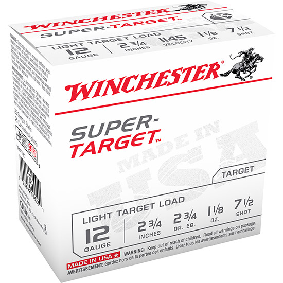 Winchester Ammo TRGT127 Super Target 12 Gauge 2.75 1-1|8 oz 7.5 Shot 25 Bx| 10 in.