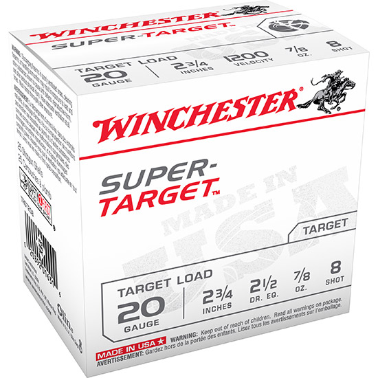Winchester Ammo TRGT208 Super Target 20 Gauge 2.75 7|8 oz 8 Shot 25 Bx| 10 Cs in.
