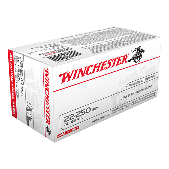 Winchester Ammo USA222502 Best Value 22-250 Remington 45 GR Jacketed Hollow Point 40 Bx| 10 Cs