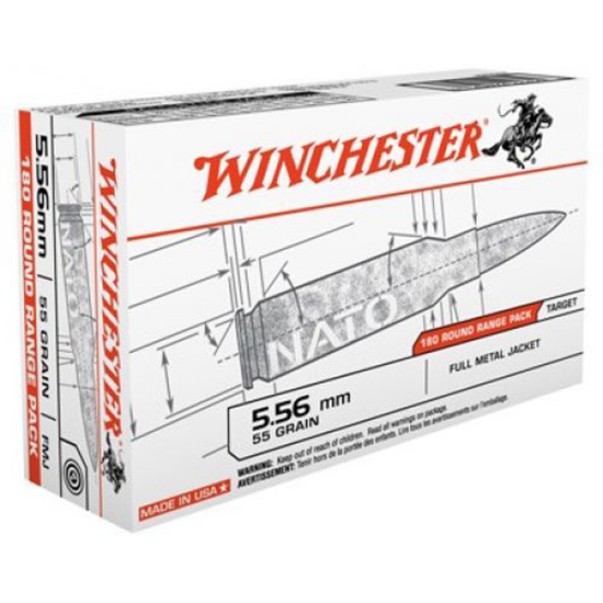 Winchester Ammo USA3131W USAW Rifle 223 Remington|5.56 NATO 55 GR Full Metal Jacket 180 Bx| 5 Cs