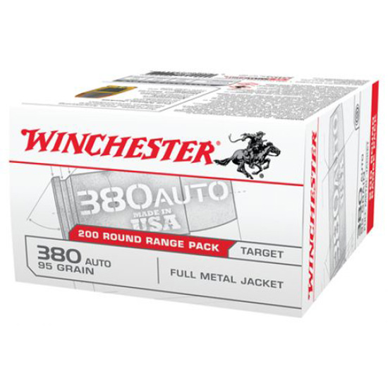 Winchester Ammo USA380W USA White Box 380 Automatic Colt Pistol (ACP) 95 GR Full Metal Jacket Flat Nose 200 Bx| 5 Cs