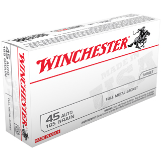 Winchester Ammo USA45A Best Value 45 Automatic Colt Pistol (ACP) 185 GR Full Metal Jacket 50 Bx|10 Cs