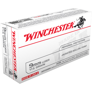 Winchester Ammo USA9JHP Best Value 9mm Luger 115 GR Jacketed Hollow Point 50 Bx| 10 Cs