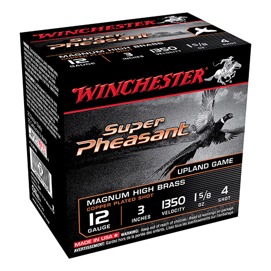 Winchester Ammo X123PH4 Super Pheasant Plated HV 12 Gauge 3 1-5|8 oz 4 Shot 25 Bx| 10 Cs in.