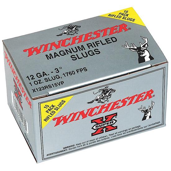 Winchester Ammo X123RS15VP Super-X 12 Gauge 3 1 oz Slug Shot 15 Bx| 10 Cs in.