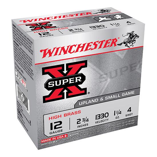 Winchester Ammo X124 Super-X High Brass Game 12 Gauge 2.75 1-1|4 oz 4 Shot 25 Bx|10 Cs in.
