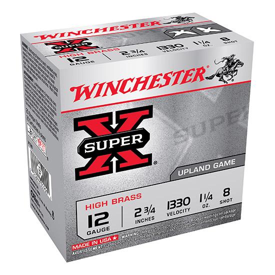 Winchester Ammo X128 Super-X High Brass Game 12 Gauge 2.75 1-1|4 oz 8 Shot 25 Bx| 10 Cs in.