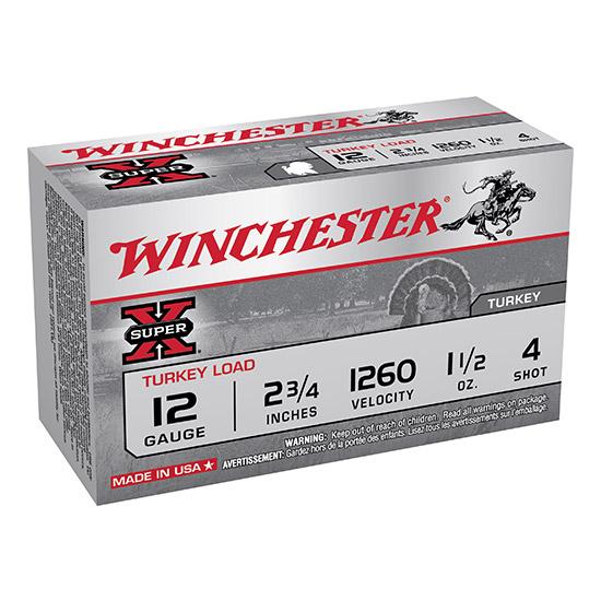 Winchester Ammo X12MT4 Super-X Turkey 12 Gauge 2.75 1-1|2 oz 4 Shot 10 Bx| 10 Cs in.