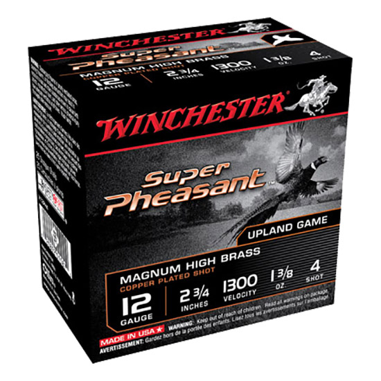 Winchester Ammo X12P4 Super-X Pheasant 12 Gauge 2.75 1-1|4 oz 4 Shot 25 Bx| 10 Cs in.