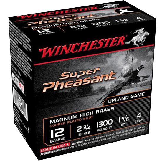 Winchester Ammo X12PH4 Super Pheasant Plated HV 12 Gauge 2.75 1-3|8 oz 4 Shot 25 Bx| 10 Cs in.
