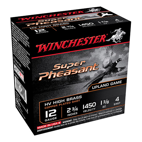 Winchester Ammo X12PHV4 Super Pheasant Plated HV 12 Gauge 2.75 1-3|8 oz 4 Shot 25 Bx| 10 Cs in.