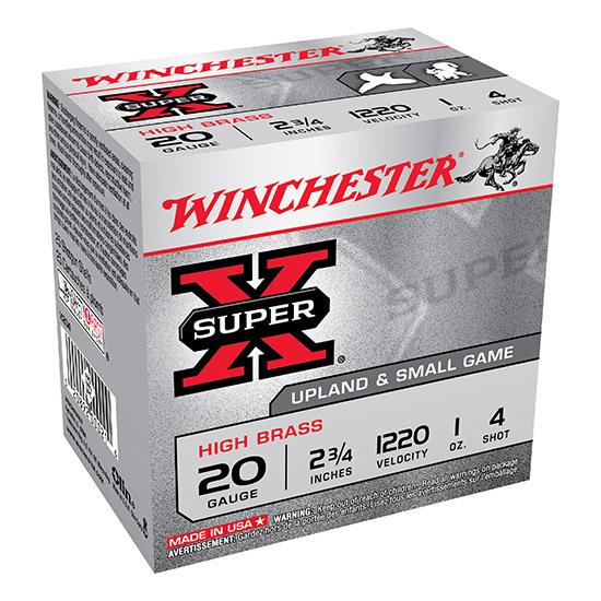 Winchester Ammo X204 Super-X High Brass Game 20 Gauge 2.75 1 oz 4 Shot 25 Bx|10 Cs in.