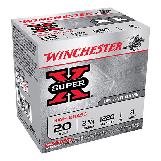 Winchester Ammo X208 Super-X High Brass Game 20 Gauge 2.75 1 oz 8 Shot 25 Bx| 10 Cs in.