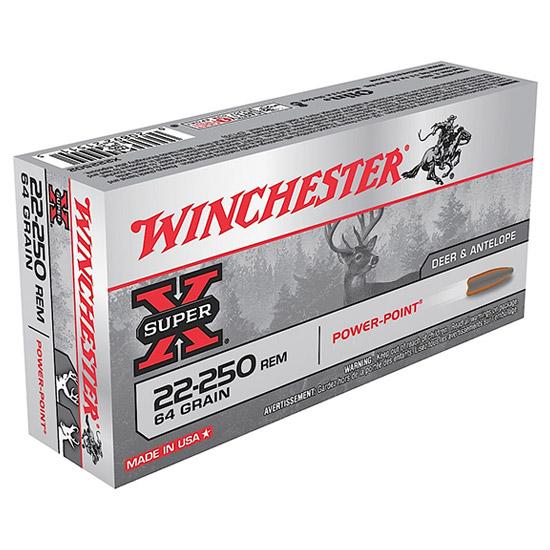 Winchester Ammo X222502 Super-X 22-250 Remington 64 GR Power-Point 20 Bx  10 Cs