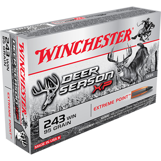 Winchester Ammo X243DS Deer Season XP 243 Winchester 95 GR Extreme Point 20 Bx| 10 Cs