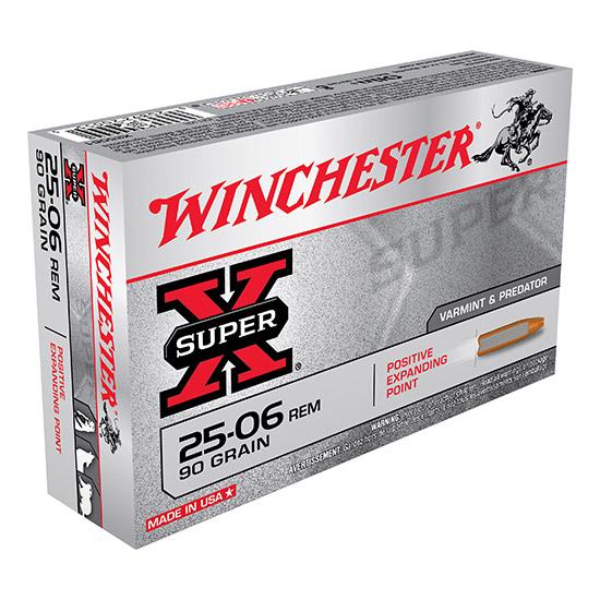 Winchester Ammo X25061 Super-X 25-06 Remington 90 GR Positive Expanding Point 20 Bx  10 Cs