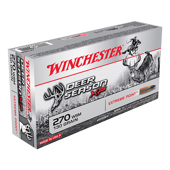 Winchester Ammo X270SDS Deer Season XP 270 Winchester Short Magnum 130 GR Extreme Point 20 Bx| 10 Cs
