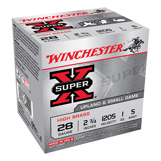 Winchester Ammo X28H5 Super-X High Brass Game 28 Gauge 2.75 1 oz 5 Shot 25 Bx| 10 Cs in.