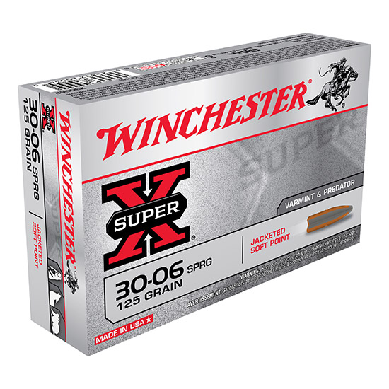 Winchester Ammo X30062 Super-X 30-06 Springfield 125 GR Pointed Soft Point 20 Bx| 10 Cs