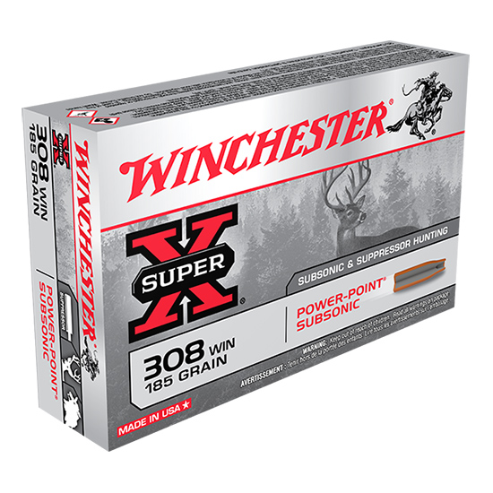 Winchester Ammo X308SUBX Super-X 308 Win|7.62 NATO 185 GR Hollow Point SubSonic 20 Bx| 10 Cs