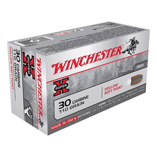 Winchester Ammo X30M1 Super-X 30 Carbine 110 GR Hollow Soft Point 50 Bx| 10 Cs