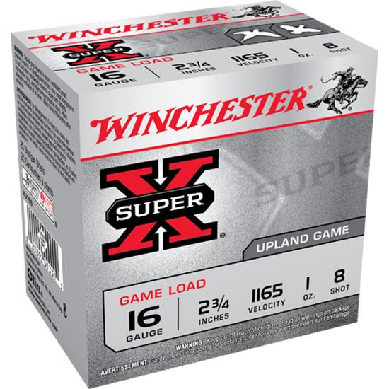 Winchester Ammo XU168 Super-X Game & Field 16 Gauge 2.75 1 oz 8 Shot 25 Bx| 10 Cs in.