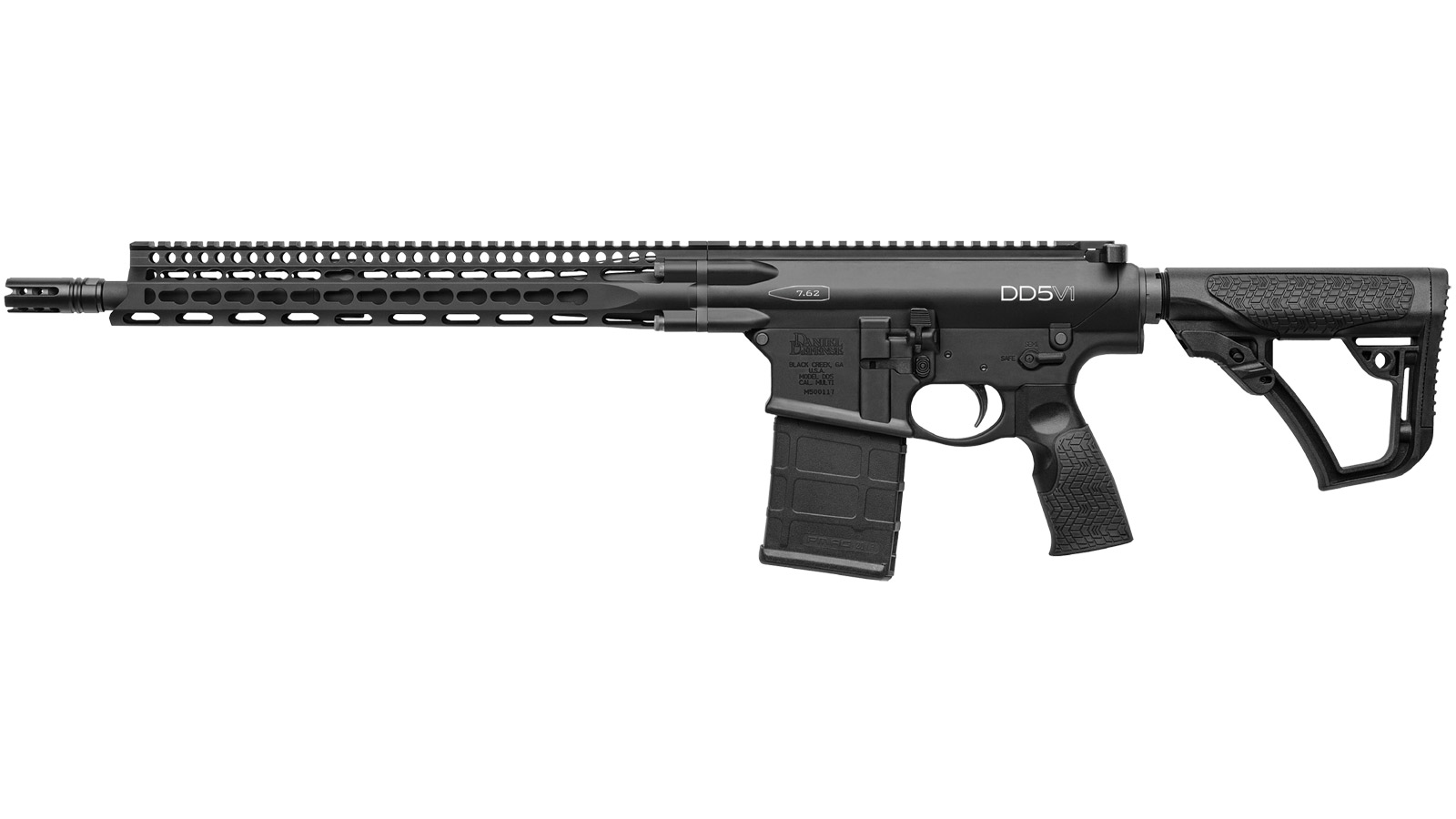 Daniel Defense 17029047 DD5 V1 Semi-Automatic 308 Win|7.62 NATO 16 20+1 6-Position Black Stk Black Hard Coat Anodized|Black Phosphate in.