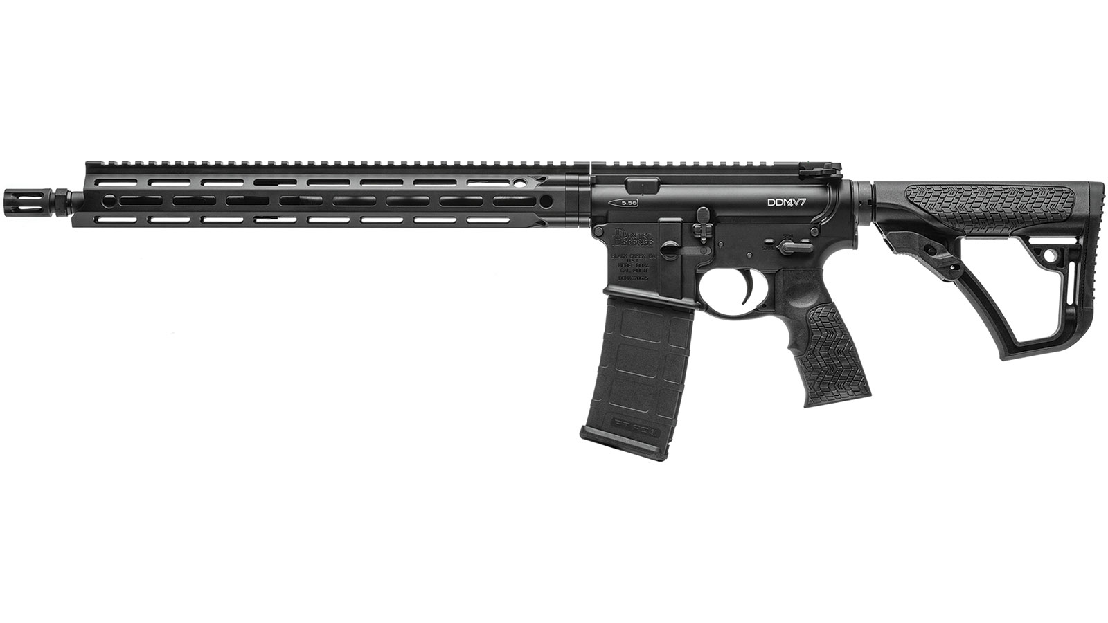 Daniel Defense 02081047 DDM4 V7 Semi-Automatic 5.56 NATO 16 30+1 6-Position Black Stk Black Hardcoat Anodized|Black Phosphate in.