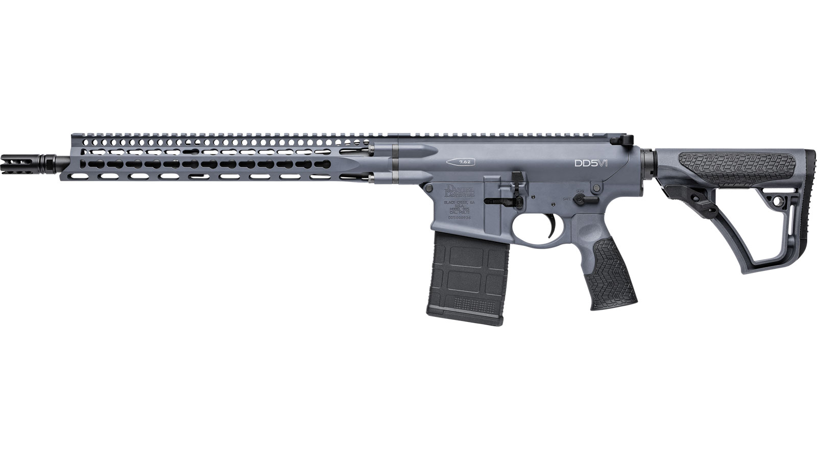 Daniel Defense 07337047 DD5 V1 Semi-Automatic 308 Winchester|7.62 NATO 16 20+1 6-Position Gray Stk Gray Cerakote in.