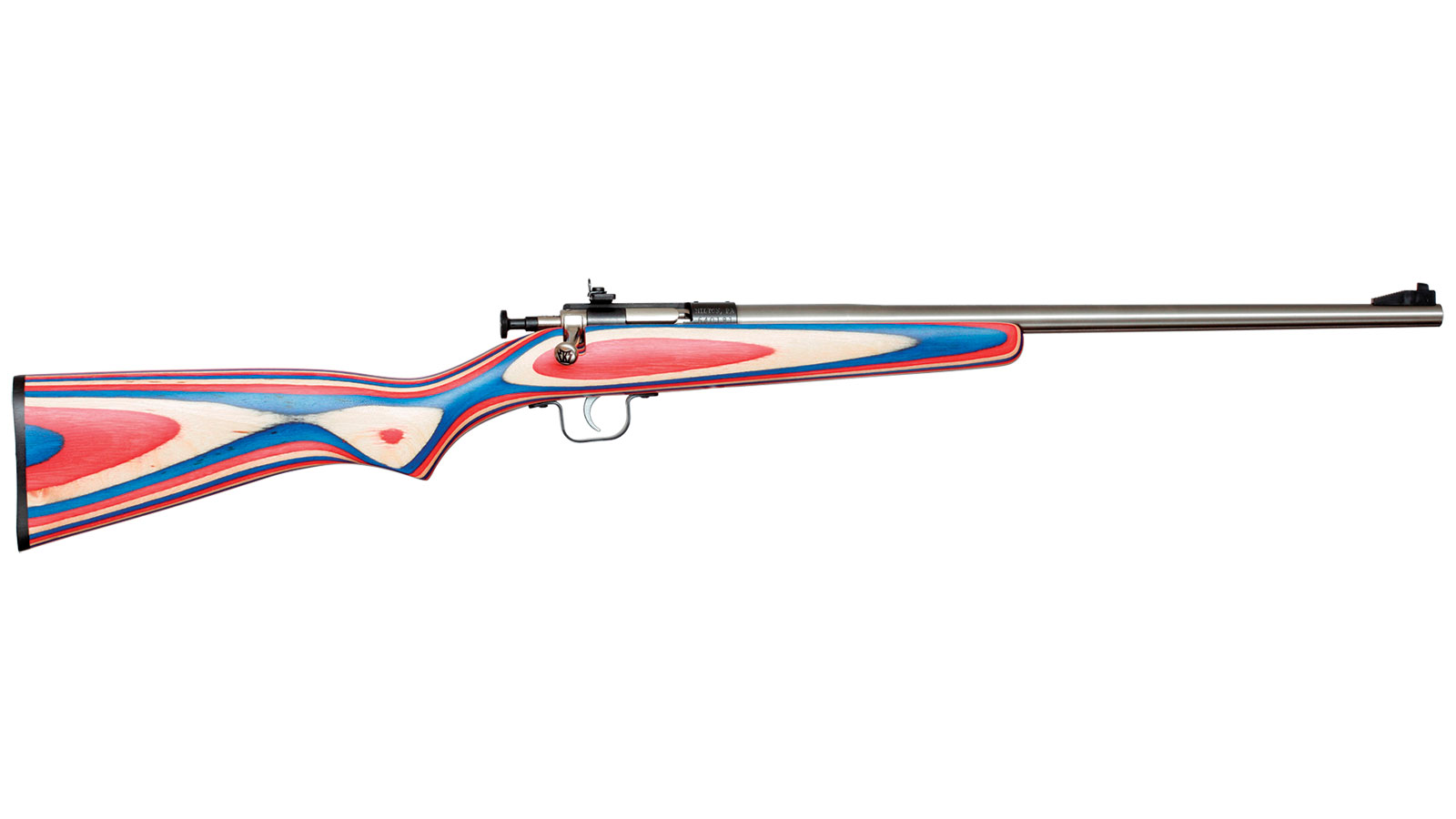 Keystone Crickett Red White Blue Wood Laminate Stock with Stainless Steel Action .22 LR 16 Inch 1 Rd