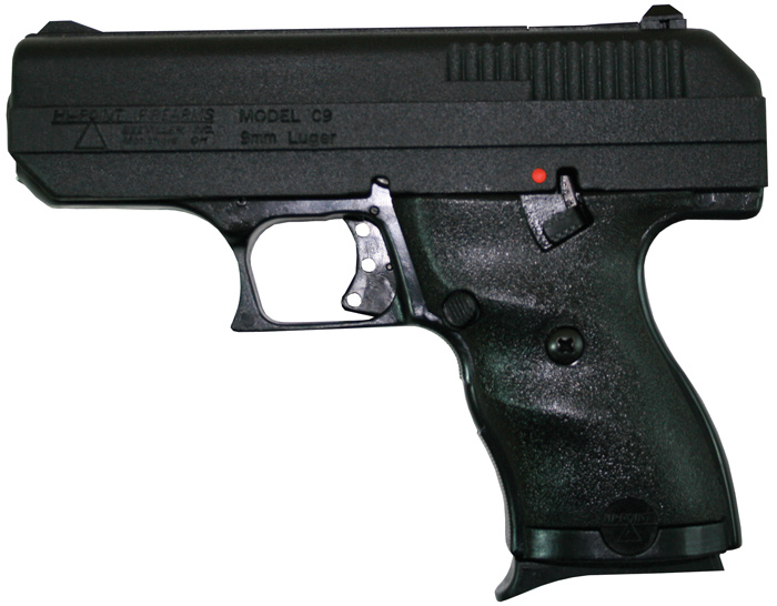 Hi-Point 916HCKNIFE 9mm Compact Double Luger 3.5 8+1 Black Polymer Grip Black with Hard Case and Knife in.