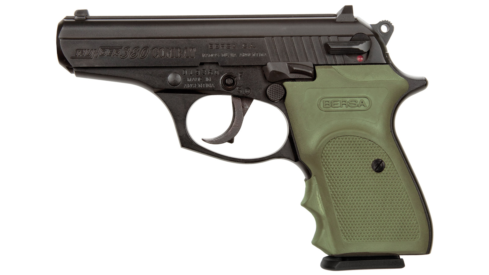 Bersa T380MC Thunder Combat Single|Double 380 Automatic Colt Pistol (ACP) 3.5 8+1 OD Green Rubber Grip Black in.