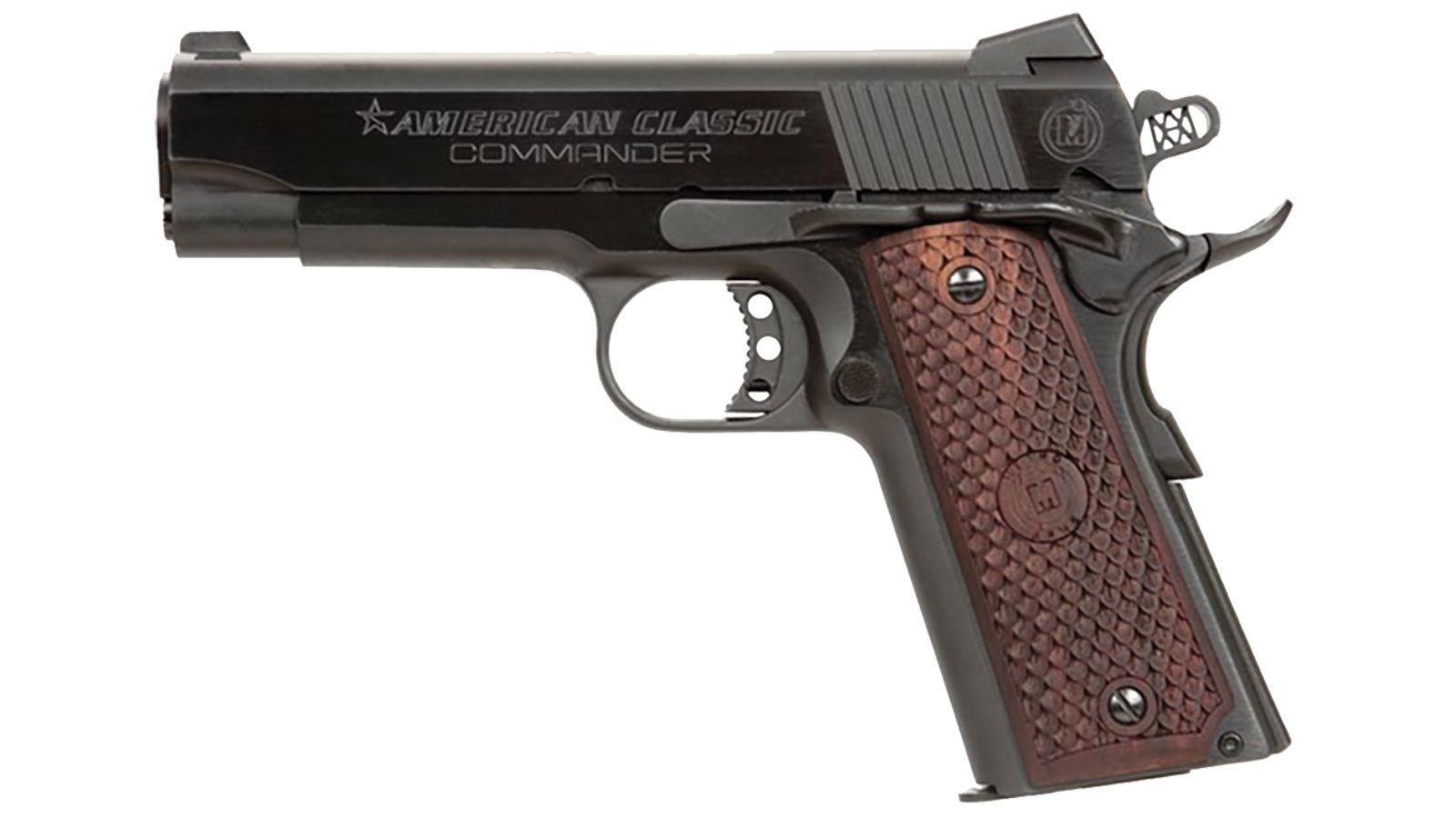 American Classic ACC9B 1911 Commander Single 9mm Luger 4.25 9+1 Hardwood w|MAC Logo Grip Blued in.
