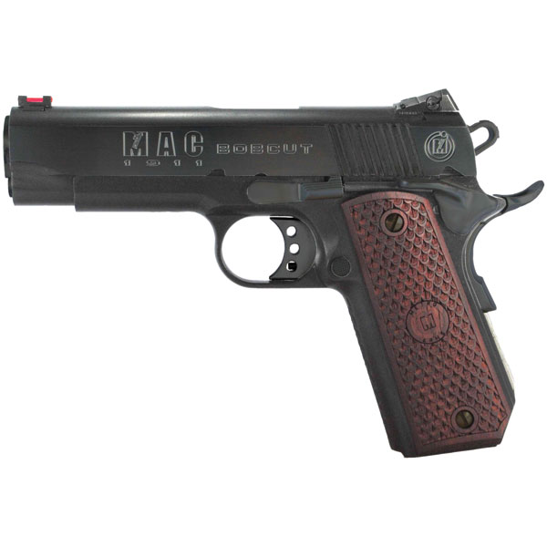 MAC M19BC45B 1911 Bobcut SAO 45ACP 4.25 8+1 Hardwood w|Logo Blued in.