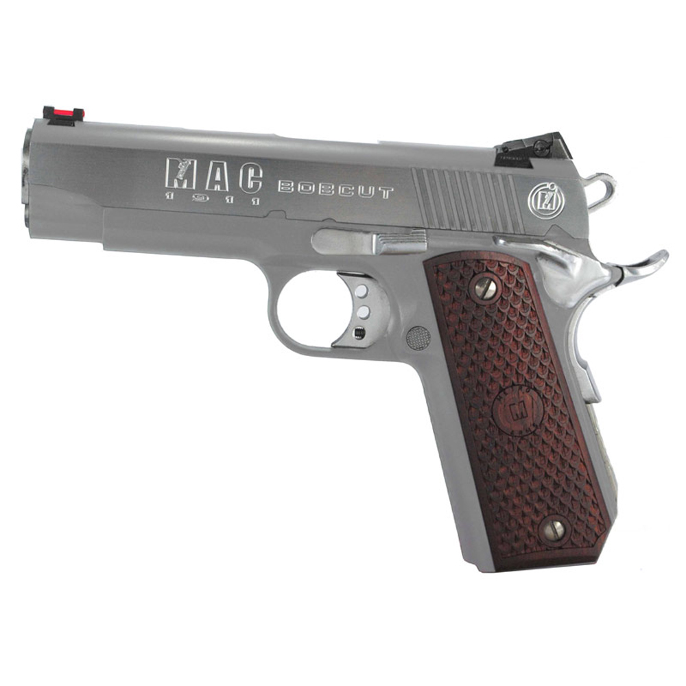 MAC M19BC45C 1911 Bobcut SAO 45ACP 4.25 8+1 Hardwood w|Logo Hard Chrome in.