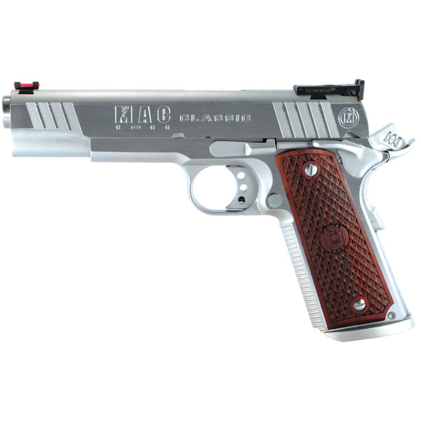 MAC M19CL45C 1911 Classic SAO 45ACP 5 8+1 Hardwood w|Logo Hard Chrome in.