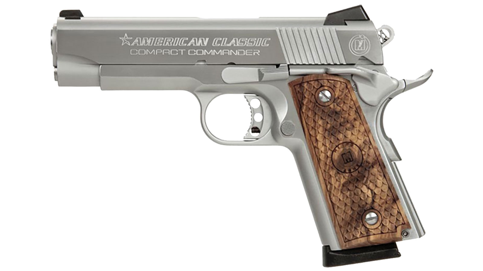 American Classic ACCC45DT 1911 Compact Commander Single 45 Automatic Colt Pistol (ACP) 4.3 7+1 Hardwood Grip Hard Chrome in.
