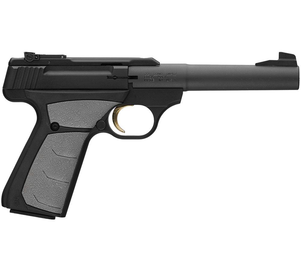 Browning 051498490 Buck Mark Camper 22 Long Rifle (LR) Single 5.5 10+1 Gray Ultragrip FX Grip Black Aluminum Alloy Frame Slide in.