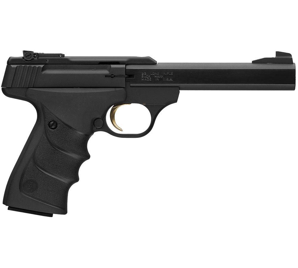 Browning 051497490 Buck Mark Standard 22 Long Rifle (LR) Single 5.5 10+1 Black Ultragrip RX Grip Black Aluminum Alloy Frame Slide in.