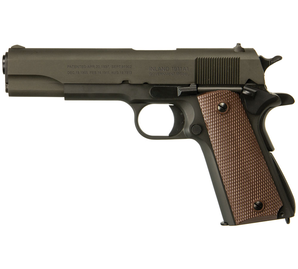 Inland Mfg ILM1911 1911 A1 Government Single 45 ACP 5 7+1  Grip Black Parkerized in.