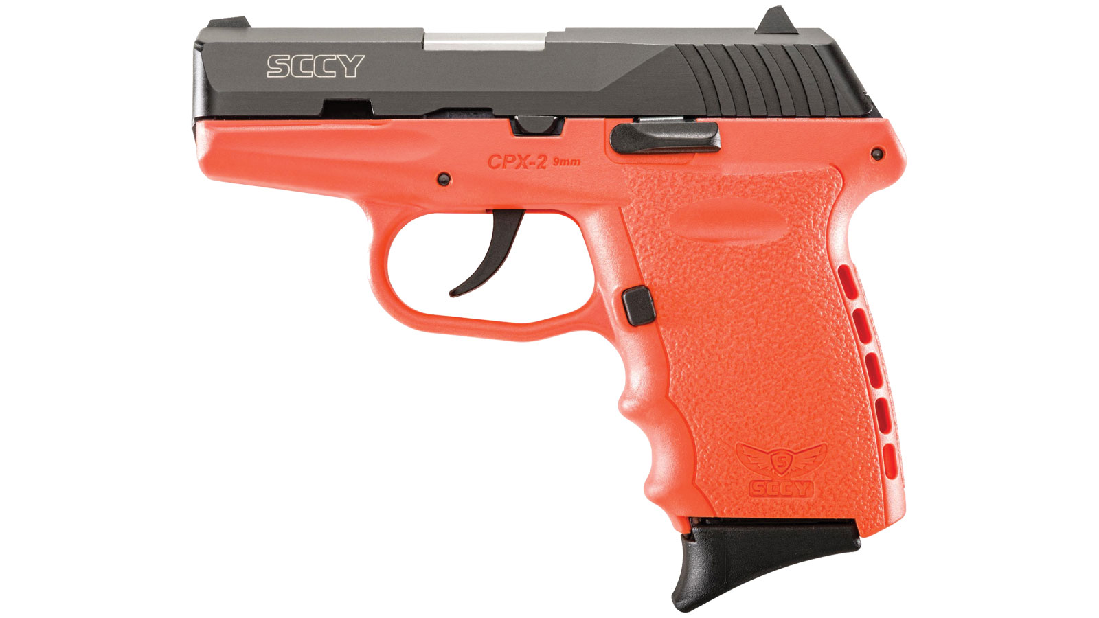 SCCY Industries CPX2CBOR CPX-2 Double 9mm 3.1 10+1 Orange Polymer Grip|Frame Grip Black Nitride Stainless Steel in.