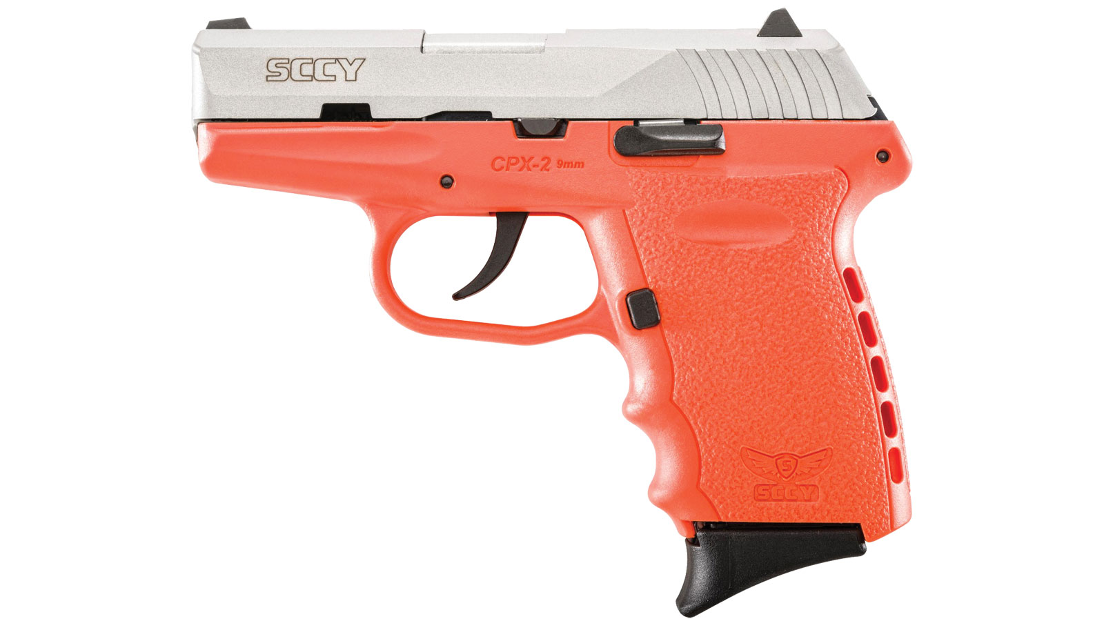 SCCY Industries CPX2TTOR CPX-2 Double 9mm 3.1 10+1 Orange Polymer Grip|Frame Grip Stainless Steel in.