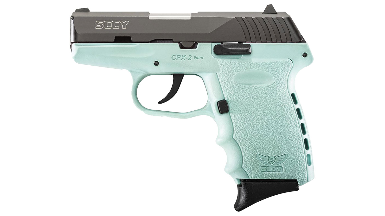 SCCY Industries CPX2CBSB CPX-2 Double 9mm 3.1 10+1 Robin Egg Blue Polymer Grip|Frame Grip Black Nitride Stainless Steel in.